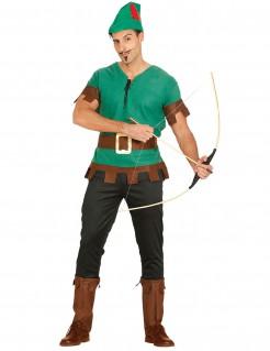 Tapferer Bogenschütze Mittelalter-Kostüm grün-schwarz-braun