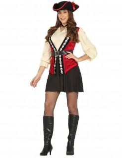 Piratenkapitäns-Kostüm Freibeuterin für Damen schwarz-rot-beige