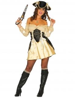 Verführerisches Piratinnen-Kostüm beige-braun