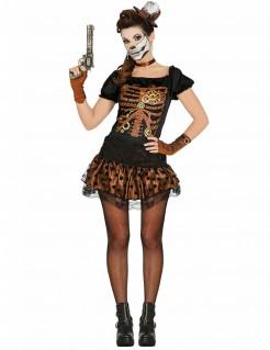 Steampunk-Skelett Dia de los Muertos Halloween-Damenkostüm braun-schwarz