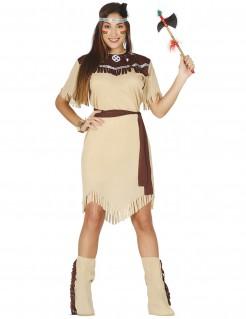 Indianerin-Kostüm für Erwachsene beige-braun