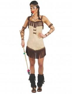 Mutige Indianerin Damenkostüm braun-beige