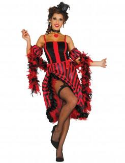 Sexy Showgirl Damenkostüm rot-schwarz