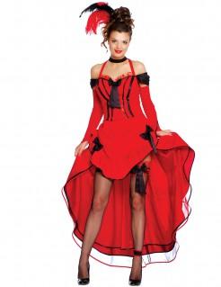 Cancan-Kostüm Tänzerin rot-schwarz