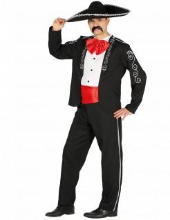 Mexikaner-Herrenkostüm schwarz-weiss-rot