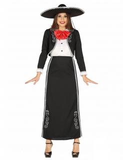 Mexikanerinnen-Kostüm schwarz-weiss-rot