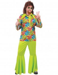 Hippie-Kostüm für Herren grün-bunt