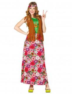 Hippie-Damenkostüm mit Blumenrock bunt