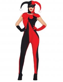 Sexy Harlekin Damenkostüm rot-schwarz