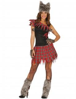 Werwolf-Kostüm Schulmädchen grau-rot-schwarz