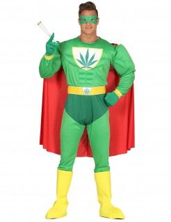Lustiges Superheldenkostüm Cannabis grün-gelb-rot