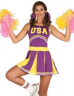 USA Cheerleader-Kleid lila-gelb