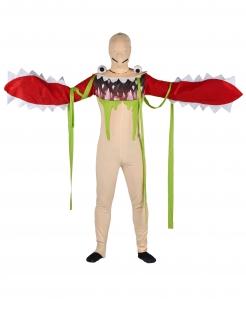 Monsterschlund-Kostüm für Erwachsene Halloween beige-rot-grün