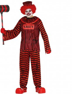 Psycho-Clownkostüm Halloween schwarz-rot