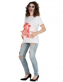 Blutiges Halloween-T-Shirt mit Babypuppe Damenkostüm Halloween weiß-rot