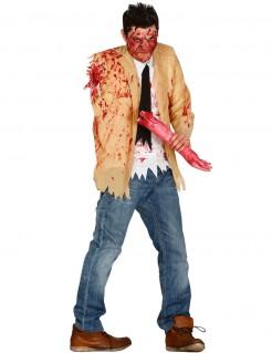 Amputierter Zombie Herrenkostüm Halloween beige-weiß