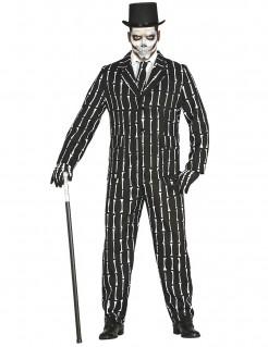 Knochen-Anzug Halloweenkostüm schwarz-weiss