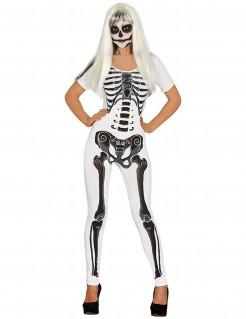 Skelett-Kostüm Damen Halloween schwarz-weiss