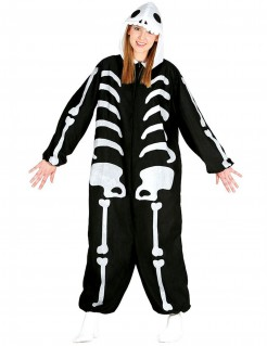 Bequemer Skelett-Overall Skelett-Damenkostüm für Halloween schwarz-weiss