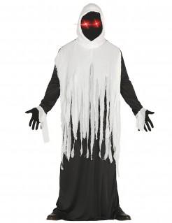 Gespenster-Kostüm mit LED-Augen Halloween schwarz-weiß