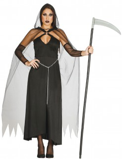 Sensenmann-Damenkostüm für Halloween schwarz