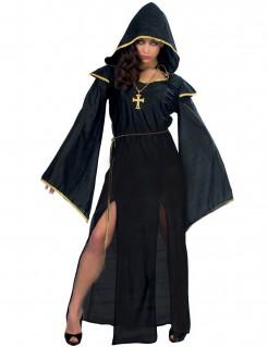 Priesterin-Kostüm Nonnen-Kostüm für Halloween schwarz-gold
