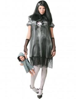 Dunkle Puppe Halloweenkostüm schwarz-grau