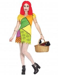 Schaurige Puppe Halloween-Damenkostüm bunt