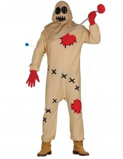 Voodoopuppen-Kostüm Halloweenkostüm beige-rot