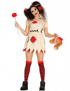 Stoffpuppen-Kostüm Voodoo für Erwachsene beige-rot