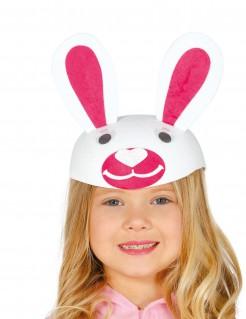 Hasen-Kopfbedeckung Hasenmütze weiss-pink