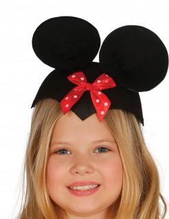 Maus-Kinderhut mit Schleife schwarz-rot