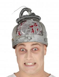 Horror-Mütze Elektrischer Stuhl Kopfbedeckung grau-rot