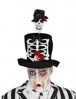 Skelett-Hut für Herren Día de los Muertos Halloween-Accessoire schwarz-weiss-rot
