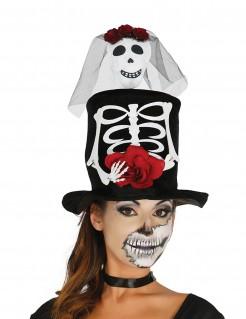 Skelett-Hut Día de los Muertos Halloween-Accessoire schwarz-weiss-rot
