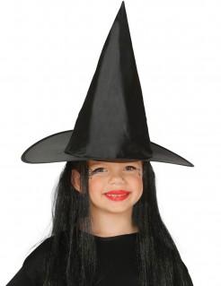 Hexenhut mit Haaren für Kinder Halloween-Accessoire schwarz