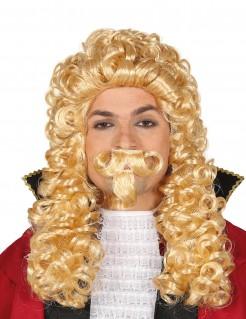 Musketier-Perücke Königsperücke mit Locken und Bart blond