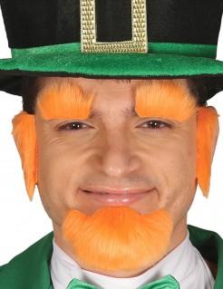 St. Patrick´s Day Bart- und Augenbrauen-Set orange