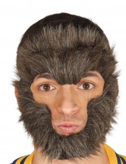 Werwolfhaar-Maske Werwolf-Maske braun