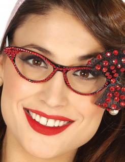 50er Jahre Brille mit roten Perlen für Damen