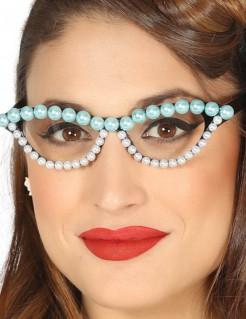 50er Jahre Brille mit Perlen für Damen