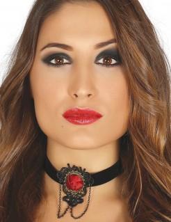 Choker mit Rose Schmuck Accessoire schwarz-rot