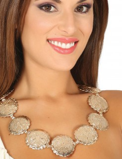 Halskette Madaillon Römer-Kostümaccessoire goldfarben