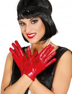 Kurze Handschuhe für Damen im Metallic-Look rot