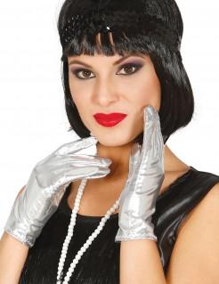 Kurze Handschuhe für Damen im Metallic-Look silber
