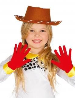 Kurze Kinder-Handschuhe Kostüm-Accessoire rot