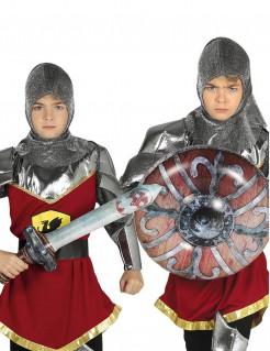 Mittelalterliches Schild und Schwert aufblasbar für Kinder Ritter-Set grau-braun