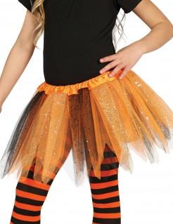 Tutu mit Glitter für Mädchen schwarz-orange