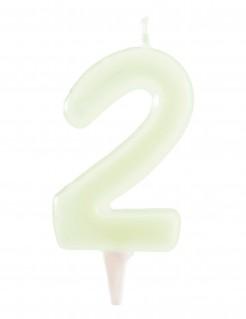 Nachtleuchtende Geburtstagskerze Zahl 2 weiss 6cm