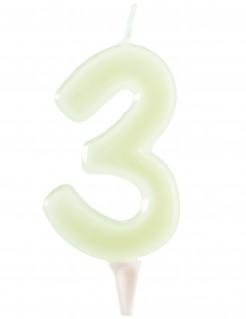 Nachtleuchtende Geburtstagskerze Zahl 3 weiss 6cm